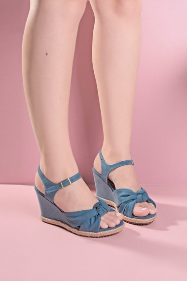Sandália Sapato Feminino Corda 8 Cm Corda Sisal Nó Anabela
