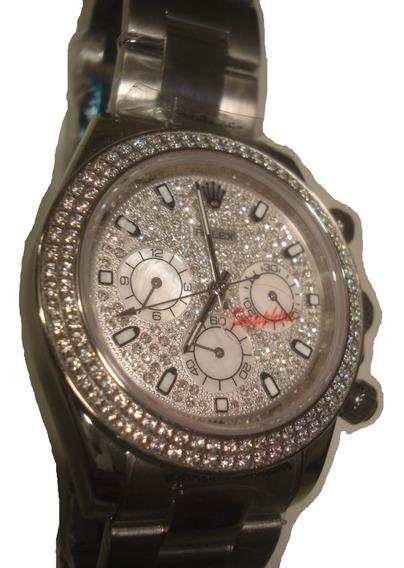 Reloj Nuevo Rolex Daytona Color Platino Piedras Swarovscky