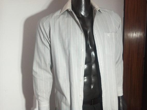 Fina Camisa Gris. Cristian Dior Original.con Rayas Blancas