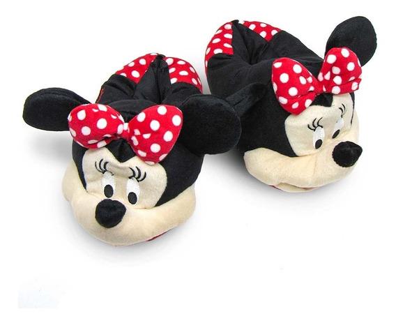 Pantufa Minnie Mouse 3d - Solado De Borracha - Ricsen - Original Disney