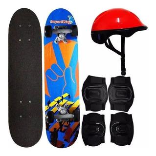 Skate 24 Polegadas Com Kit Capacete Joelheira E Caneleira