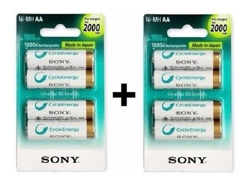 Pilha Recarregável Sony Kit 8 Pilhas Aa 2000 Mah 1.2v Ni Mh