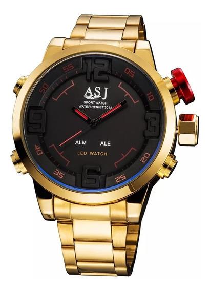 Relógio Asj Dourado Pulceira De Metal Analógico E Digital