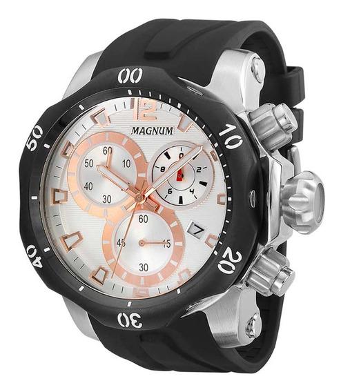 Relógio Magnum Masculino Cronógrafo Prata Rose Ma33755s