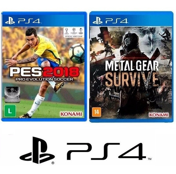 Pes 2018 Futebol + Metal Gear Survive - Midia Fisica - Ps4
