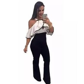 Macacão Macaquinho Flare Feminino Com Ziper Plus Size Babado