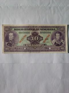 Billete De 10 Bolívares Espécimen 1977 Unc