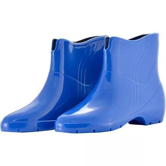Bota Galocha Pvc Feminina Limpeza/faxina Azul Ou Preto 34a39