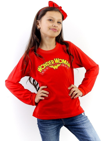 Kit 06 Camisetas Infantil Manga Longa Menina 100% Algodão