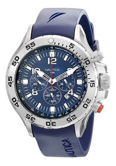 Relógio Nn7043 Nautica Prata Fundo Azul Puls Borracha