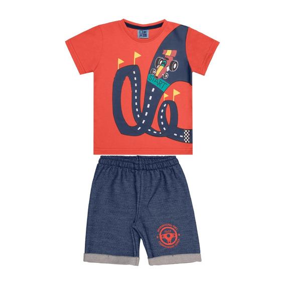 Conjunto Infantil Masculino Camiseta E Bermuda Estampa Carro