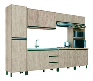 Cozinha Completa Móveis Sul 13 Portas 3 Gavetas 6 Peças