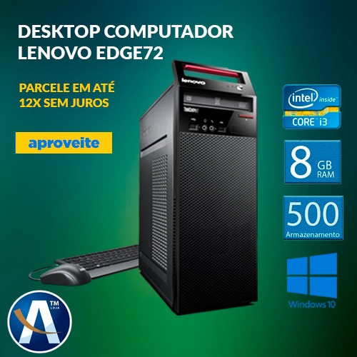 Desktop Computador Lenovo Edge72 I3 8gb Ram Hd 500gb