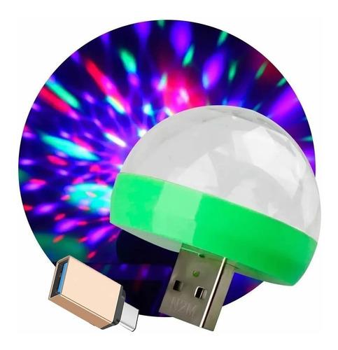 Mini Esfera Para Celular Luminosa Rgb Usb + Otg Tipo C