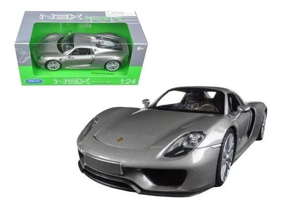 Welly Auto Colección - Porsche 918 Spyder - Amarillo/ Plata