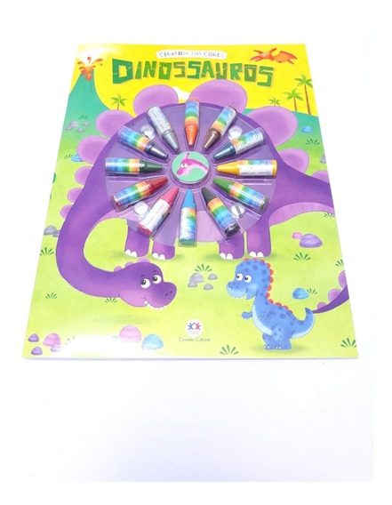 Livro Para Colorir - Com Giz De Cera - Dinossauros