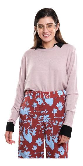 Suéter Ligero Mujer Cuello Redondo Color Azul Lob