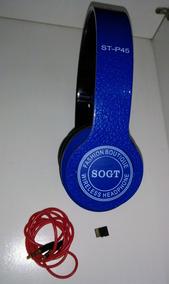 Headphone Azul Sogt Wireless Dobrável Regulável Micro Sd