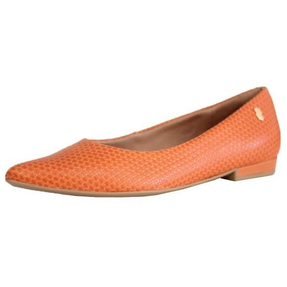 Sapato Confortável Usaflex Laranja Bico Fino Feminino 0101