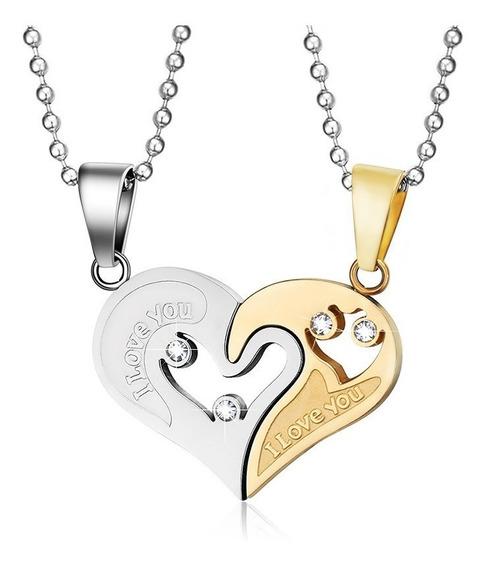 Colar Namorado Masculino E Feminino Coração Aço Banhado Ouro