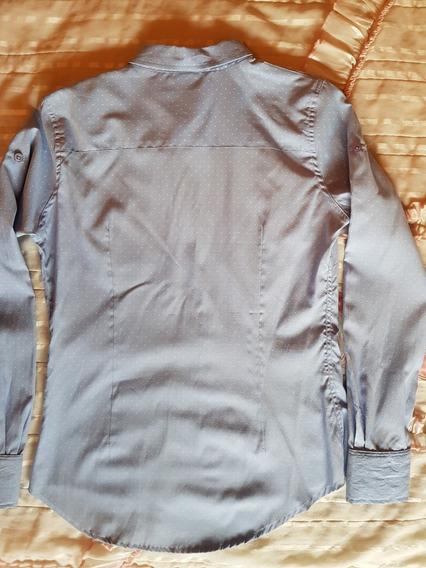 Camisa Celeste Con Puntos Blancos En Talle S (ast)