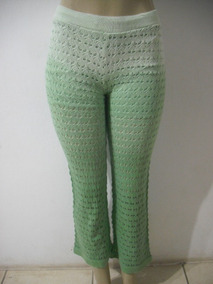 Calça Verde Trico Marcia Mello Tam Pp P Forro Parcial