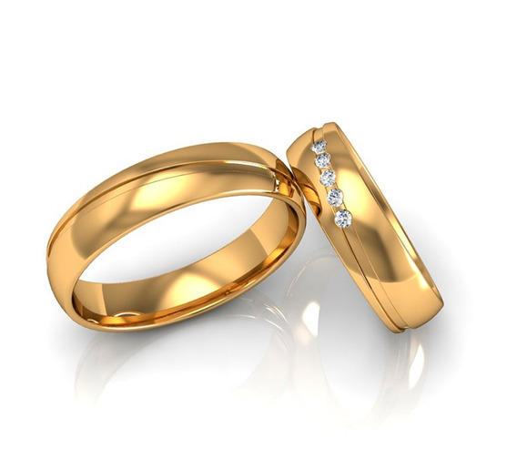 Alianças Casamento Ouro Polidas Friso Diagonal 5mm 8g