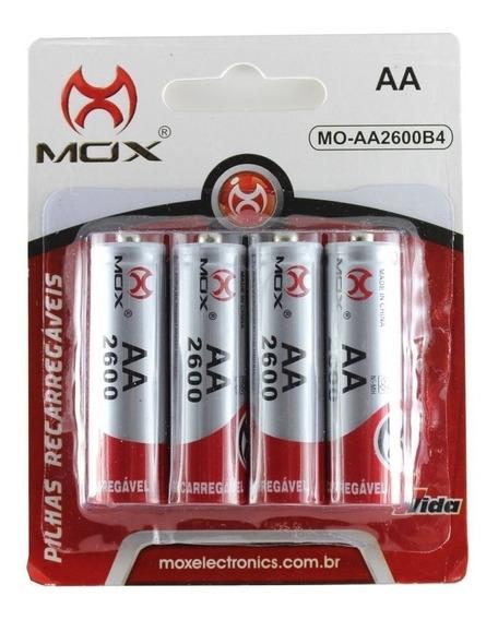Pilha Bateria Mox Aa C/ 4 Unidades