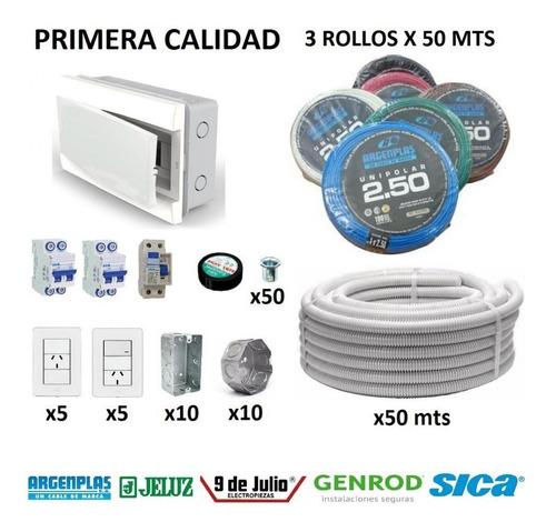 Kit Instalacion Electrica Domiciliaria Cable Termica Llaves