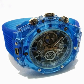 Relógio Masculino Hublot Automático Azul Transparente Barato