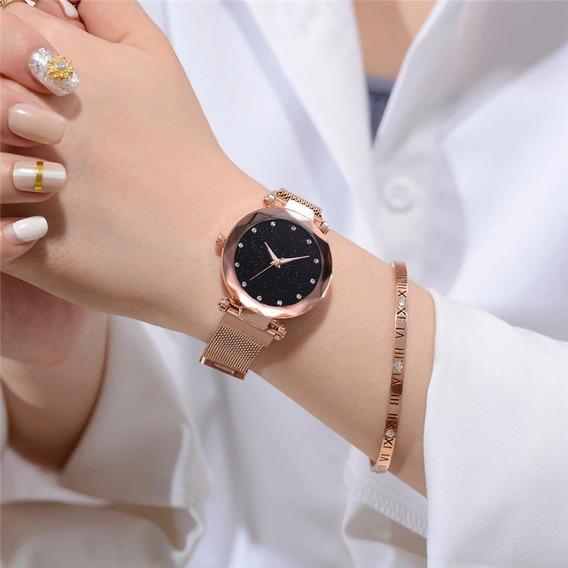 Relógio Feminino Magnético Céu Estrelado + Pulseira