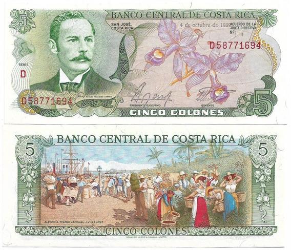 Costa Rica 5 Colones 1989 Fe P-236d