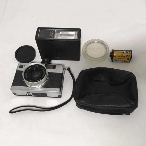 Máquina Fotográfica Yashica C/lente Flash Filme Funcionando