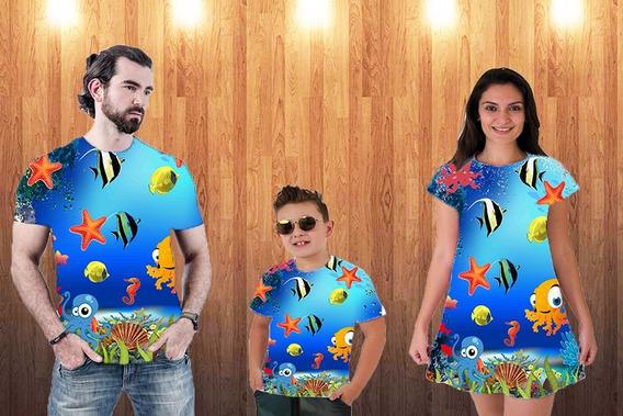 Blusa Pai, Vestido Mãe + Blusa Filho - Fundo Do Mar 2
