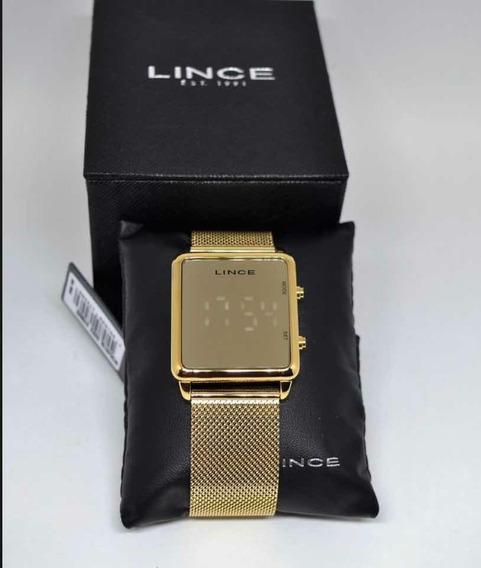 Relógio Lince Espelhado Dourado Led Branca