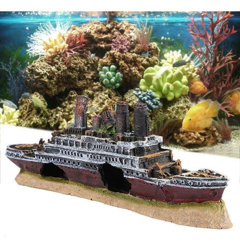 ASCENDTING accesorios perfectos para escondites de peces dise/ño de barco de guerra para acuario Adorno de resina para acuario