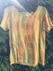 Blusa Feminina T-shirt Estampada M Animal Print Algodão