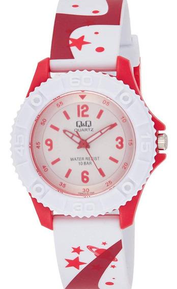Relógio Masculino Infantil Vermelho E Branco Q&q Ponteiro