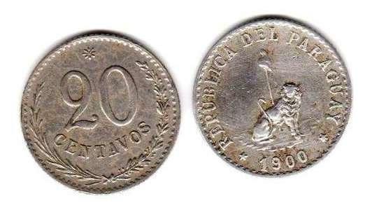 Moneda De Paraguay Año 1900 De 20 Centavos Buena+