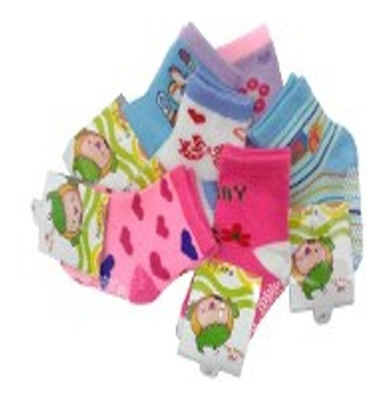 Kit 12 Meia Infantil Bebê Menina Tam 0 Meses A 8 Anos