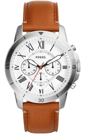 Relógio Fossil Masculino Cronografo Fs5060/0kn Aço Couro