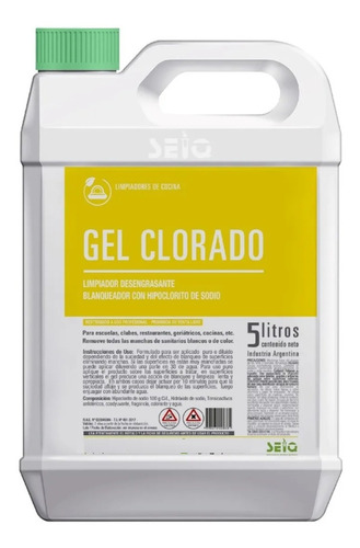Gel Clorado Lavandina En Gel Desinfectante Bidon 5 Lts Seiq