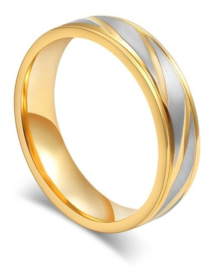 Aliança/ Anel Aço Titânio Banhado A Ouro 4mm