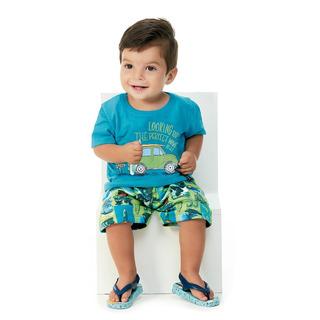 Roupa Bebê Menino Conjunto Camiseta E Bermuda Abrange Surf