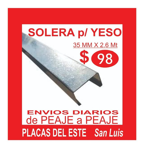 Solera Para Yeso 35/260 Mejor Precio Placas Del Este