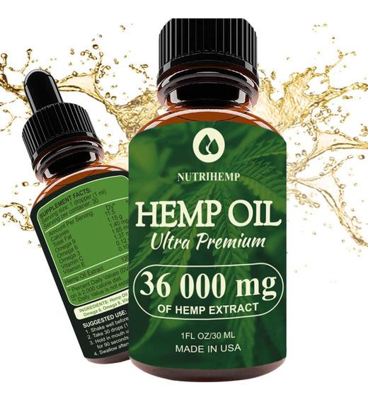 Hemp Oil Drops 36 000 Mg, 100% Pure Natural Ingredients