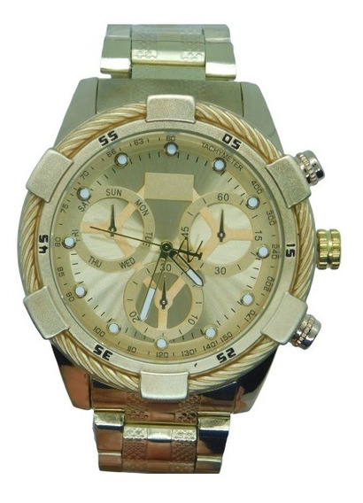 Relógio Masculino Ostentação Dourado Pesado Luxo Mais Caixa