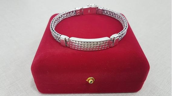 Pulseira Masculina Prata De Bali Bracelete Fecho Gaveta