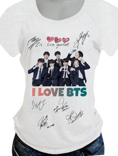 Camiseta Babylook Bts Camisa Com 55 Opcao De Costas Blusa692