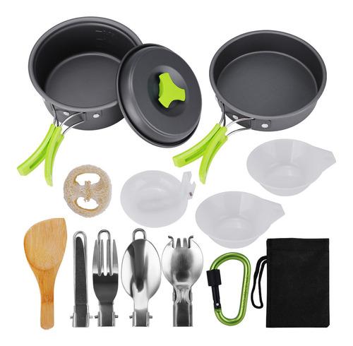 Imagem 1 de 8 de Kit De Cozinha Para Camping Com Panelas E Estojo 15 Pcs